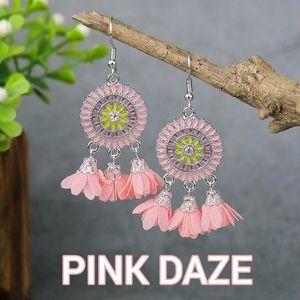 NEW PINK DAZE BOHO CHIC RHINESTONE FLOWER EARRINGS